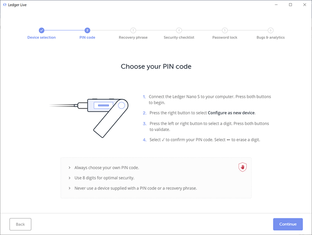 Choose Your PIN Code in Ledger Live