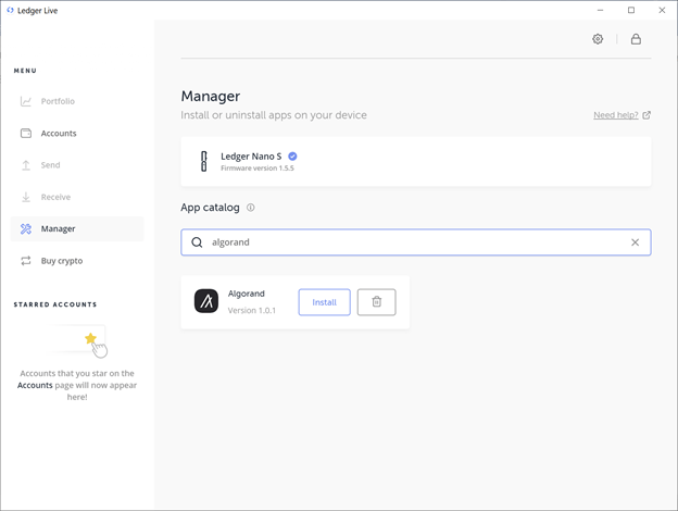 Install the Algorand Application in the Manager Section of Ledger Live