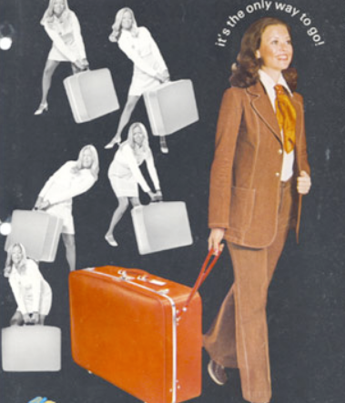 An early ad for Bernard Sadow's wheeled suitcase design
